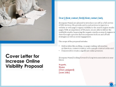 Enhancing Digital Presence Proposal Template Cover Letter For Increase Online Visibility Proposal Summary PDF