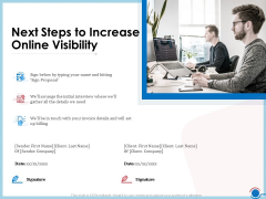 Enhancing Digital Presence Proposal Template Next Steps To Increase Online Visibility Themes PDF