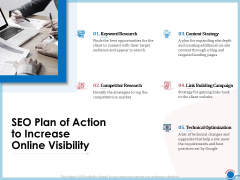 Enhancing Digital Presence Proposal Template SEO Plan Of Action To Increase Online Visibility Diagrams PDF