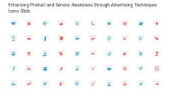Enhancing Product And Service Awareness Through Advertising Techniques Icons Slide Portrait PDF
