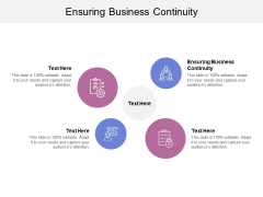 Ensuring Business Continuity Ppt Powerpoint Presentation Gallery Smartart Cpb