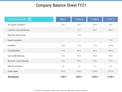 Enterprise Analysis Company Balance Sheet Fy21 Ppt Slides Grid PDF