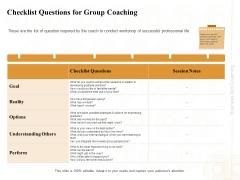 Enterprise Capabilities Training Checklist Questions For Group Coaching Ppt PowerPoint Presentation Outline Smartart PDF