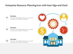 Enterprise Resource Planning Icon With Gear Sign And Clock Ppt PowerPoint Presentation Gallery Files PDF