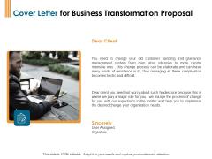Enterprise Revamping Cover Letter For Business Transformation Proposal Ppt Inspiration Infographics PDF