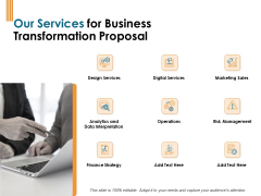 Enterprise Revamping Our Services For Business Transformation Proposal Ppt Portfolio Backgrounds PDF