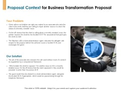 Enterprise Revamping Proposal Context For Business Transformation Proposal Ppt Slides Examples PDF
