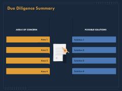 Enterprise Review Due Diligence Summary Ppt Portfolio Background Image PDF