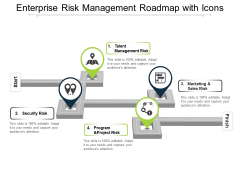 Enterprise Risk Management Roadmap With Icons Ppt PowerPoint Presentation Pictures Show