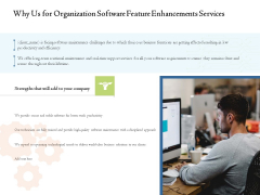 Enterprise Software Development Service Why Us For Organization Software Feature Enhancements Services Portrait PDF