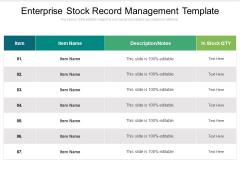 Enterprise Stock Record Management Template Ppt PowerPoint Presentation Model Graphics PDF