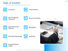 Enterprise Thesis Table Of Content Ppt Icon Themes PDF