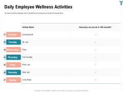 Enterprise Wellbeing Daily Employee Wellness Activities Icons PDF