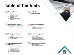 Enterprise Wellbeing Table Of Contents Template PDF