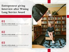 Entrepreneur Giving Interview After Wining Long Service Award Ppt PowerPoint Presentation Summary Outfit PDF