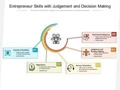 Entrepreneur Skills With Judgement And Decision Making Ppt PowerPoint Presentation Icon Visuals PDF