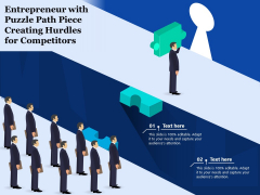 Entrepreneur With Puzzle Path Piece Creating Hurdles For Competitors Ppt PowerPoint Presentation File Demonstration PDF