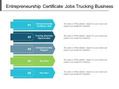 Entrepreneurship Certificate Jobs Trucking Business Opportunities Entrepreneurship Program Ppt PowerPoint Presentation Gallery Background Image