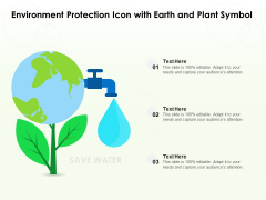 Environment Protection Icon With Earth And Plant Symbol Ppt PowerPoint Presentation Model Graphics Design PDF