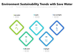 Environment Sustainability Trends With Save Water Ppt PowerPoint Presentation Layouts Samples PDF