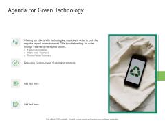 Environmental Friendly Technology Agenda For Green Technology Infographics PDF