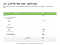 Environmental Friendly Technology Cost Summary For Green Technology Structure PDF