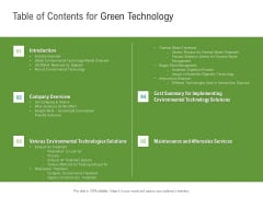 Environmental Friendly Technology Table Of Contents For Green Technology Slides PDF