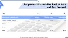Equipment And Material For Product Price And Cost Proposal Ppt Visual Aids Professional PDF