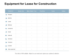 Equipment For Lease For Construction Ppt Powerpoint Presentation Inspiration Sample