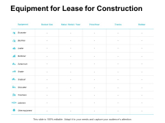 Equipment For Lease For Construction Ppt PowerPoint Presentation Outline Example Introduction