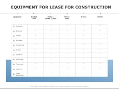 Equipment For Lease For Construction Ppt PowerPoint Presentation Styles Show