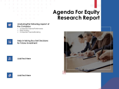 Equity Analysis Project Agenda For Equity Research Report Ppt PowerPoint Presentation Infographic Template Guide PDF