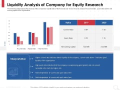 Equity Analysis Project Liquidity Analysis Of Company For Equity Research Ppt PowerPoint Presentation Styles Slideshow PDF