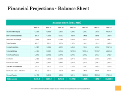 Equity Capital Funding Financial Projections Balance Sheet Ppt Show Graphics Design PDF