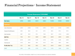 Equity Capital Funding Financial Projections Income Statement Ppt Professional Ideas PDF