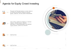 Equity Crowd Investing Agenda For Equity Crowd Investing Ppt Icon Background Image PDF
