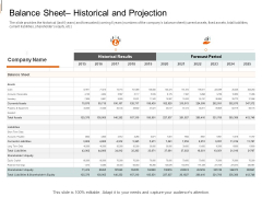Equity Crowd Investing Balance Sheet Historical And Projection Ppt Infographics Deck PDF