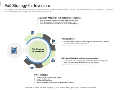 Equity Crowdfunding Pitch Deck Exit Strategy For Investors Ppt Ideas Deck PDF