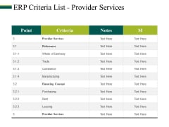 Erp Criteria List Provider Services Ppt PowerPoint Presentation Portfolio Inspiration