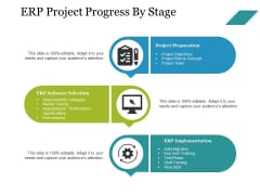 Erp Project Progress By Stage Ppt PowerPoint Presentation Inspiration Graphics Design