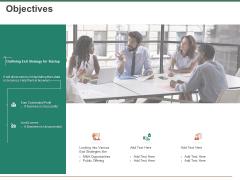Escape Plan Venture Capitalist Objectives Ppt Inspiration Infographic Template PDF