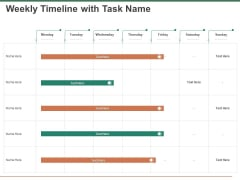Escape Plan Venture Capitalist Weekly Timeline With Task Name Ppt Outline Demonstration