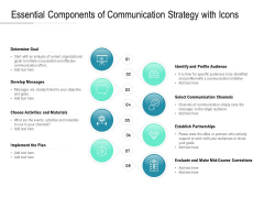 Essential Components Of Communication Strategy With Icons Ppt PowerPoint Presentation Summary