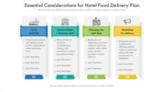 Essential Considerations For Hotel Food Delivery Plan Ppt PowerPoint Presentation File Graphics Template PDF