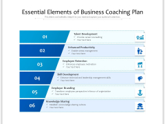 Essential Elements Of Business Coaching Plan Ppt PowerPoint Presentation File Styles PDF