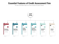 Essential Features Of Credit Assessment Firm Ppt PowerPoint Presentation Layouts Graphics Template PDF