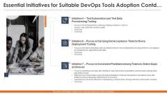 Essential Initiatives For Suitable Devops Tools Adoption Contd Icons PDF