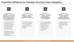Essential Initiatives For Suitable Devops Tools Adoption Mockup PDF