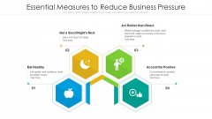 Essential Measures To Reduce Business Pressure Ppt Infographic Template Graphic Tips PDF