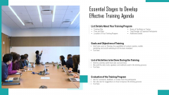 essential stages to develop effective training agenda ppt icon sample pdf